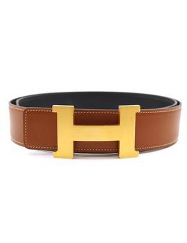 #23840 Black On Brick Brown Constance Large 42mm Ii 2 Gold H Reversible Wide Size 95 Belt by Hermès
