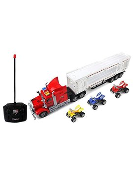Aj Toys & Games Remote Control Rc Transporter Trailer Semi Truck Ready To Run W/ 3 Toy At Vs (Colors May Vary) For Kids, Children, Great Gift! by Aj Toys & Games