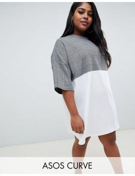 Asos Design Curve Check Mix Fabric T Shirt Dress by Asos Design