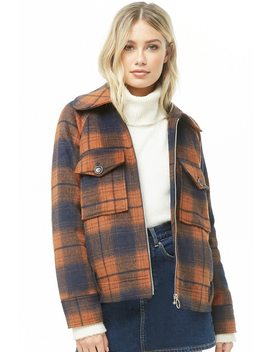 Plaid Fleece Jacket by Forever 21