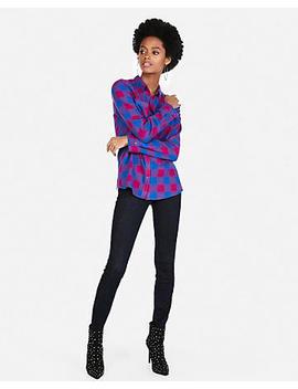Pink Plaid Flannel Boyfriend Shirt by Express