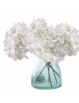 Artificial Hydrangea Flowers, Meiwo 2 Pcs Fake Hydrangea Silk Flowers To Shine Your Wedding Scene Arrangement And Home Party Decor(White) by Meiwo