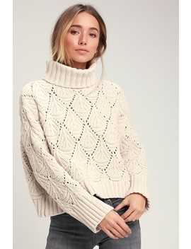 Smiling Sweetly Light Beige Chenille Knit Turtleneck Sweater by Lulu's