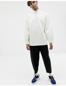Asos White Balloon Sweatshirt In White Scuba With Zip Neck by Asos White