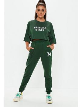 Green M Detail Jogger Sweat Bottoms by Missguided