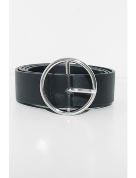 Black Faux Leather Circle Buckle Belt   Inza by Rebellious Fashion