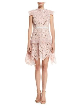Abstract Triangle Lace High Neck Short Dress by Self Portrait
