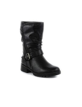 Lilley Womens Black Buckle Biker Boot by Lilley