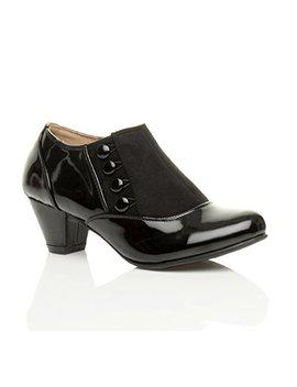 Ajvani Womens Ladies Low Mid Heel Buttons Zip Smart Work Ankle Shoe Boots Booties by Ajvani