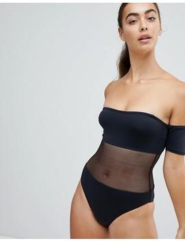 Twiin Black Mesh Cut Out Swimsuit by Twiin
