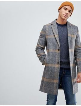 Ted Baker Wool Overcoat In Camel Check by Ted Baker