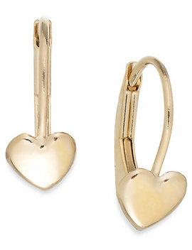 Children's Heart Hoop Earrings In 14k Gold, 2mm by Macy's