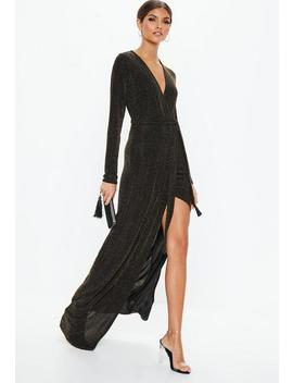Gold Glitter Wrap Split Maxi Dress by Missguided