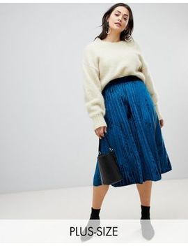 Lost Ink Plus Pleated Skirt In Velvet by Lost Ink. Plus
