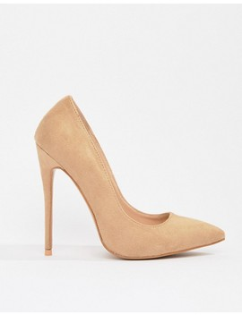 Pretty Little Thing Faux Suede High Heeled Pumps In Camel by Pretty Little Thing