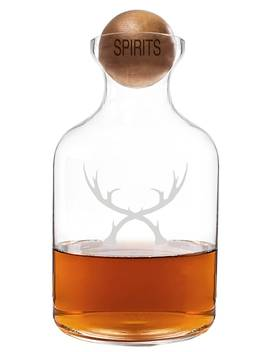 'antlers' Glass Decanter & Wood Stopper by Cathy's Concepts