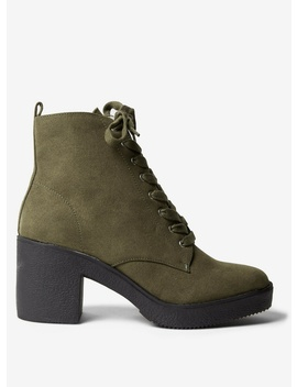 Khaki 'andi' Lace Up Boots by Dorothy Perkins
