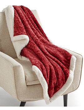"""Textured Medallion Reversible 50"""" X 60"""" Classic Sherpa Throw, Created For Macy's by Martha Stewart Collection"""
