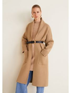 Прямое пальто с карманами by Mango