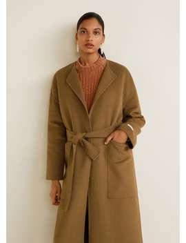 Пальто ручной работы с поясом by Mango