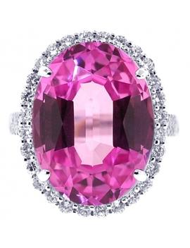 18 K White Gold 24.47 Ct Pink Sapphire Diamond Womens Ring by 24diamonds
