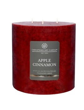 Mottled Pillar Candle Apple Cinnamon   Chesapeake Bay Candle by Chesapeake Bay Candle
