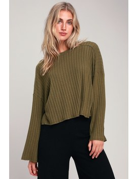 Cuddle Up Love Olive Green Sweater Top by Lulus