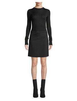 Ribbed Combo Mock Neck Sweater Dress by Theory