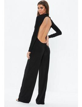 Black Open Back Slinky Jumpsuit by Missguided