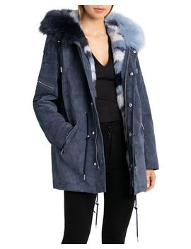 Storm Faux Fur Trimmed Suede Parka by Bagatelle.Nyc