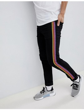 Asos Design Super Skinny Jeans In Black With Multicoloured Side Stripe by Asos Design