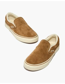 Madewell X Vans® Slip On Sneakers In Suede And Sherpa by Madewell