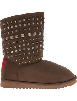 Brown Crosta Studded Boots by Love Moschino