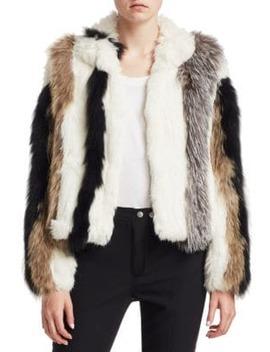Jayden Striped Fur Jacket by Cinq à Sept