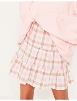 Linen Blend Check Tiered Skirt by Glassons