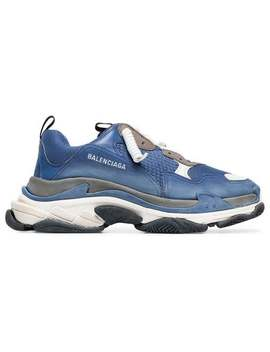 Blue And White Triple S Leather Sneakers by Balenciaga
