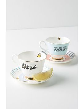 Mr. And Mrs. Teacup Set by Anthropologie