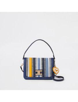 Blue Stripe Flap Over Crossbody Bag                                    Blue Mixed Print Cutabout Clip Top Purse                                      Blue Mixed Print Cutabout Clip Top Purse by River Island