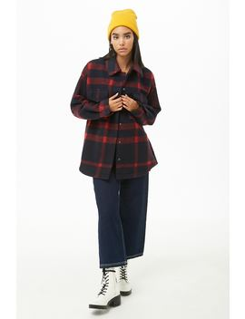 Brushed Snap Button Check Coat by Forever 21