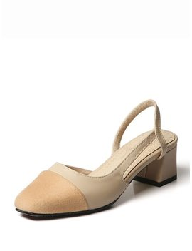 Cap Toe Slingback Block Heels by Sheinside