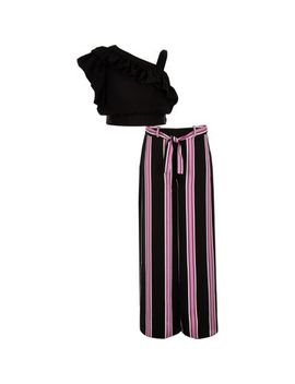 Girls Black Frill Crop Top And Pant Outfit by River Island