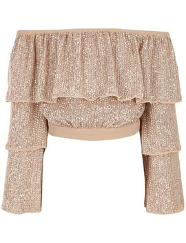 Girls Pink Tiered Sequin Bardot Crop Top by River Island