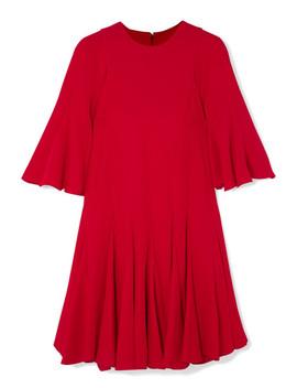 Pleated Silk Crepe De Chine Mini Dress by Valentino
