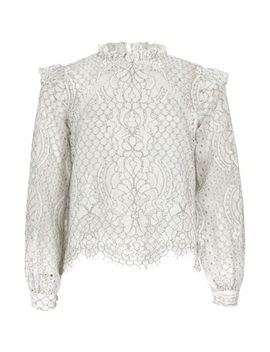 Girls White Lace High Neck Long Sleeve Top by River Island