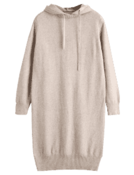 Hooded Long Sleeve Sweater Dress   Light Khaki by Zaful