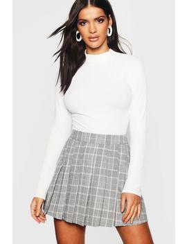 Woven Check Pleated Mini Skirt by Boohoo