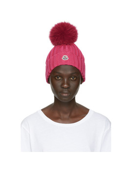 Pink Fur Rib Pom Pom Beanie by Moncler