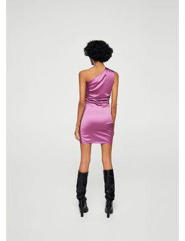 Φόρεμα σατέν ασύμμετρο by Mango