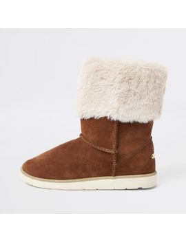 Brown Faux Fur Lined Boots by River Island