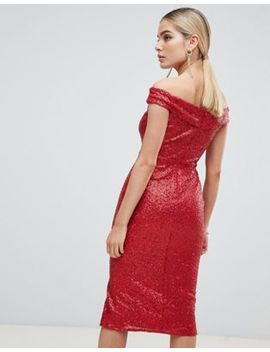 Outrageous Fortune Sequin Bardot Midi Dress In Red by Outrageous Fortune